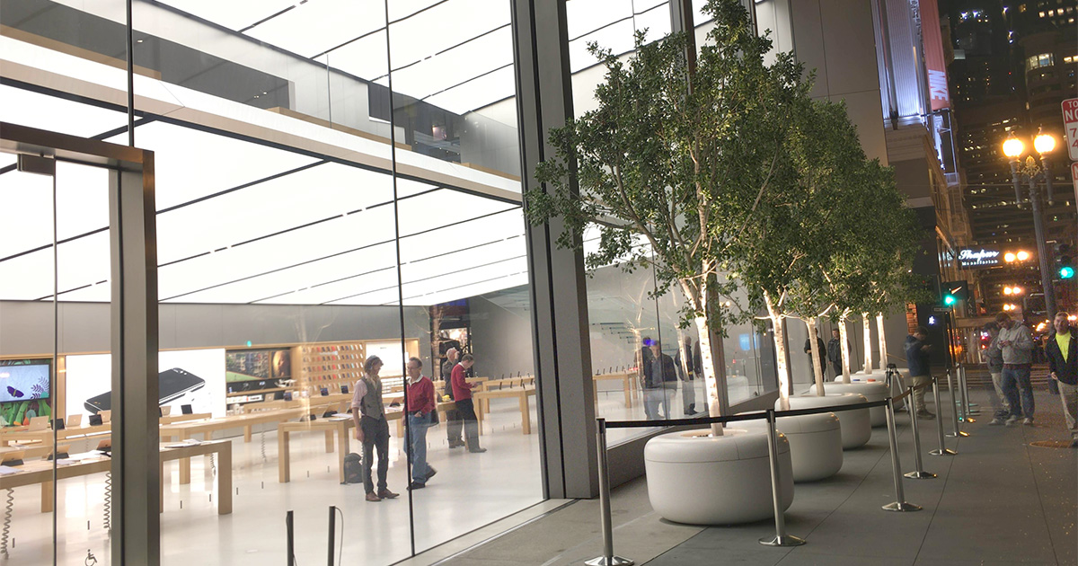 "Apple retail stores are preparing for long lines ahead of today's ""hello again"" product announcements"