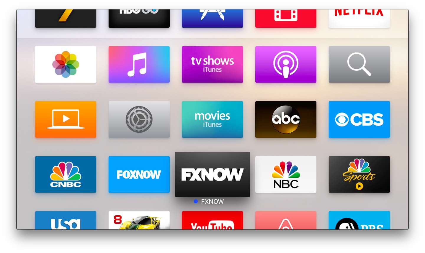 A view of the Apple TV home screen with apps