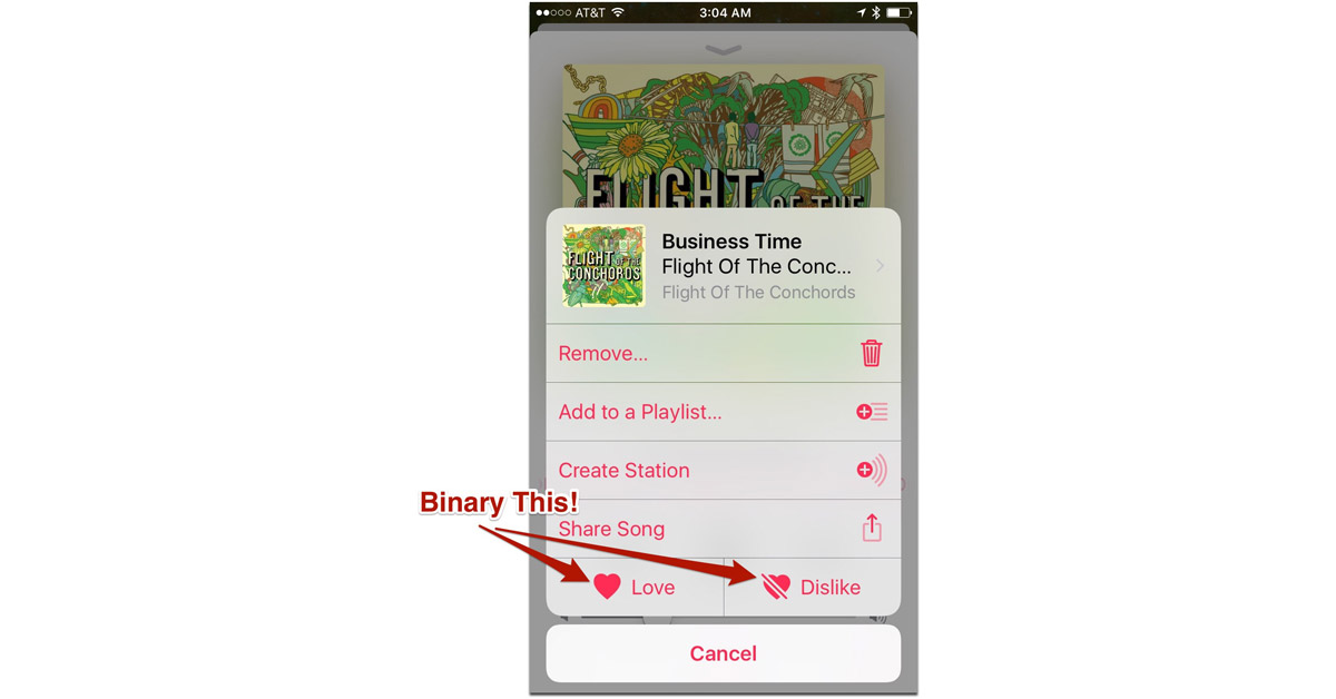 """iOS 10 Screen for """"Business Time"""" by Flight of the Conchords"""