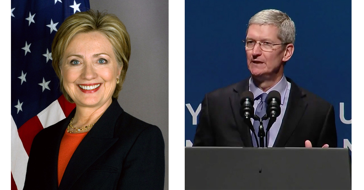 Hillary Clinton and Tim Cook