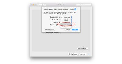 macOS Sierra 10.12.1 Keyboard settings for remapping modifier keys