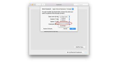 macOS Sierra 10.12.1 Keyboard settings for remapping modifier keys