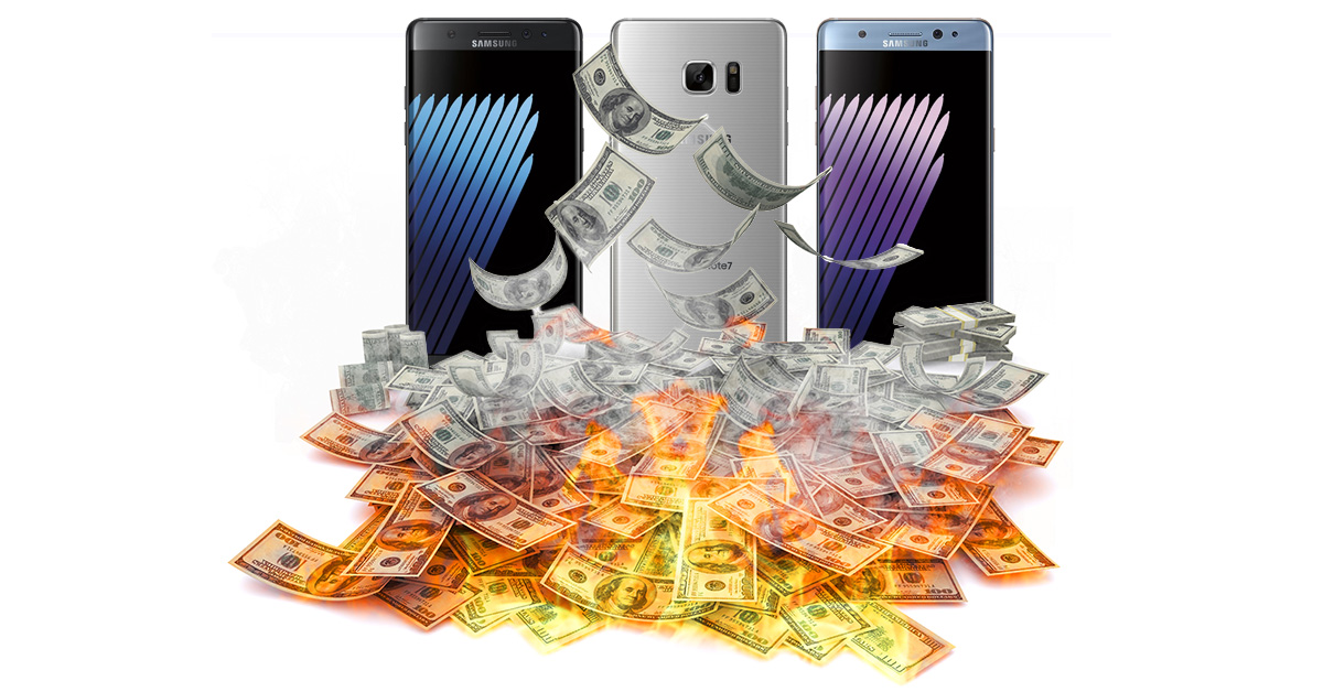 Samsung Galaxy Note 7 in burning pile of money