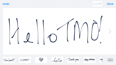 Turn your phone sideways to handwrite a message.