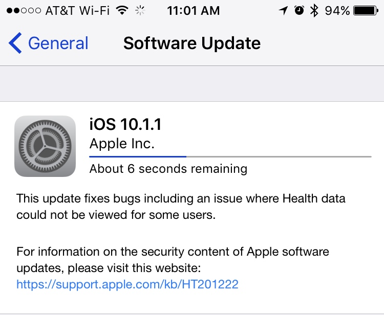 Apple Releases iOS 10.1.1 with fix for viewing Health data