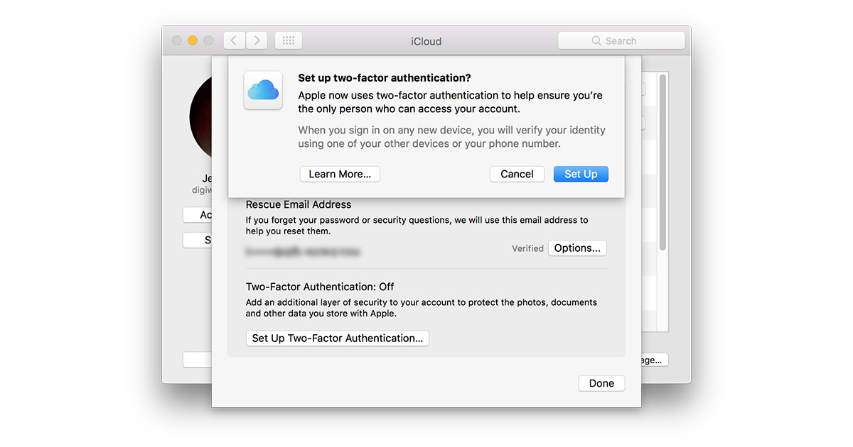 iCloud two-factor authentication setup bug fixed