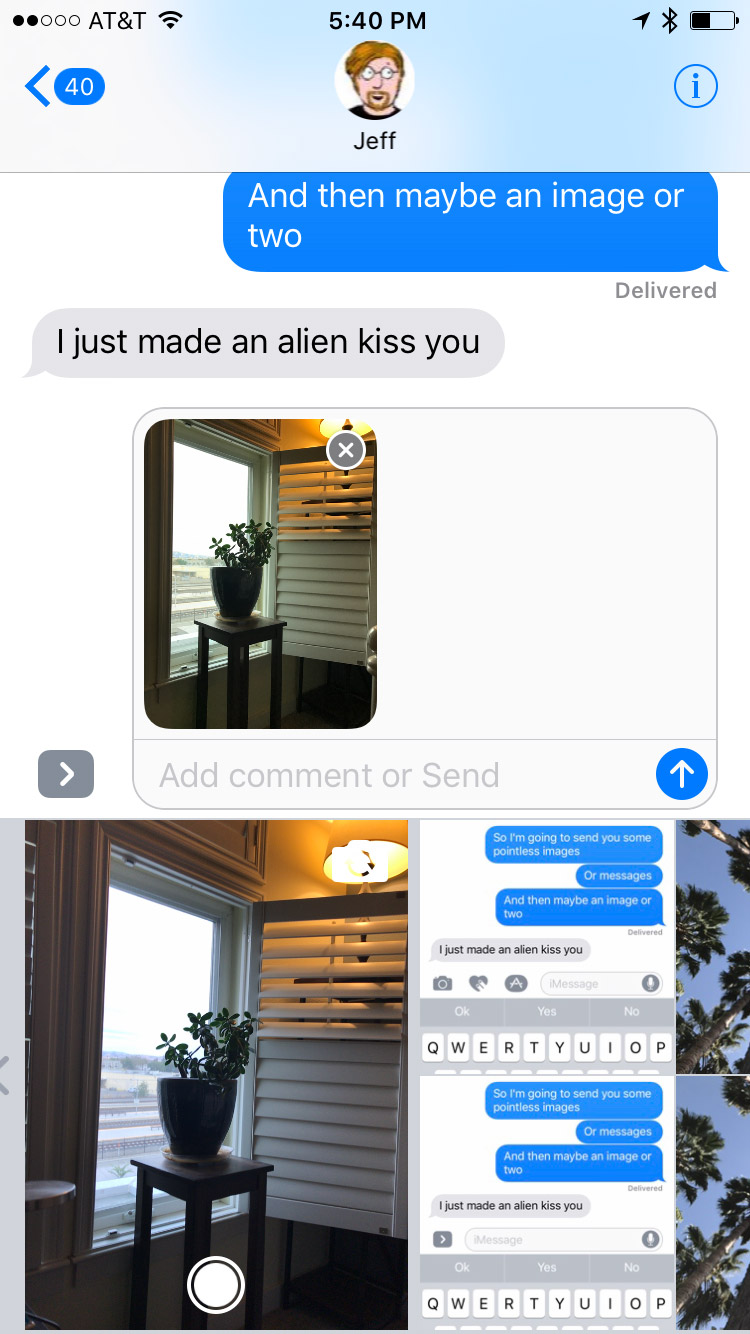 Mini-Camera Photo added to chat, but not sent