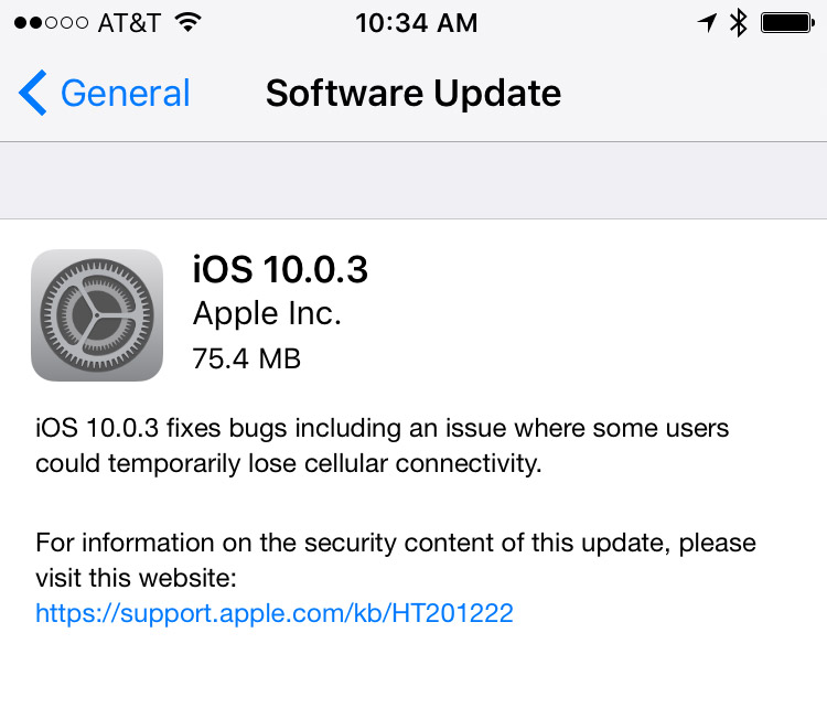 Patch Note Screenshot for iOS 10.0.3