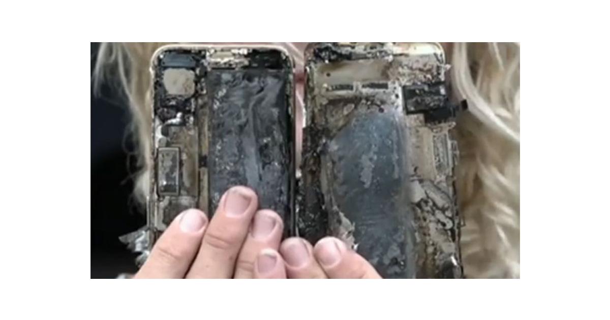 Burned iPhone 7 following car fire