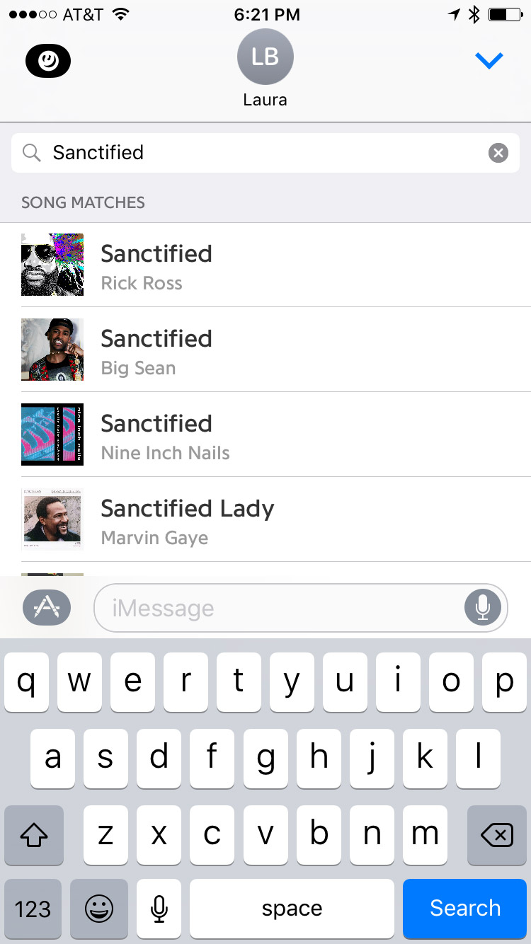 Searching in Lyrics App