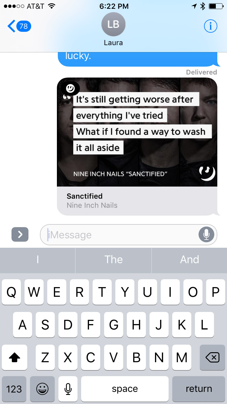 Sent Lyrics in iMessage Lyrics App