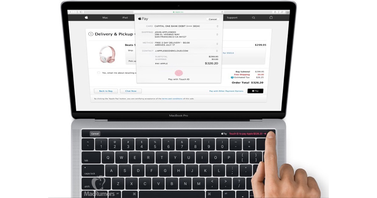 MacBook Pro with Magic Toolbar and Apple Pay