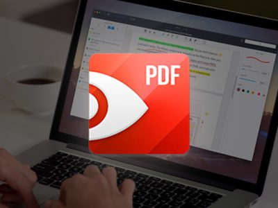 PDF Expert on MacBook with Logo