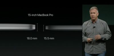 Phil Schiller comparing MacBook Pro Thinness at