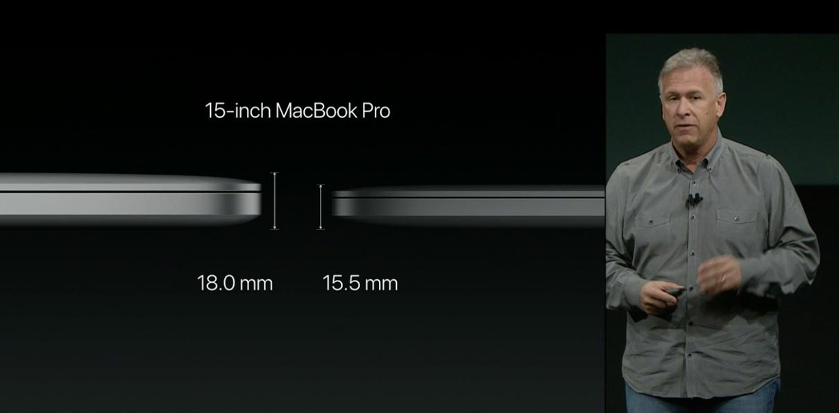 """Phil Schiller comparing MacBook Pro Thinness at """"hello again"""" event"""