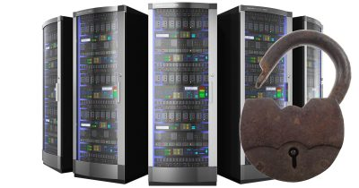 server racks with open padlock for DDoS attack
