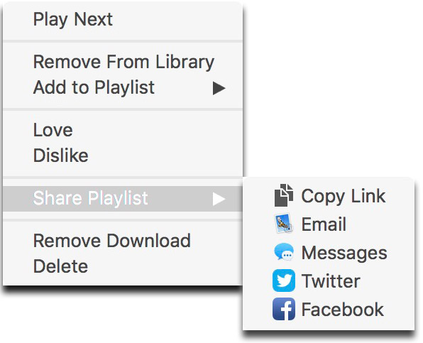 iTunes 12.5.x Playlist Sharing Menu