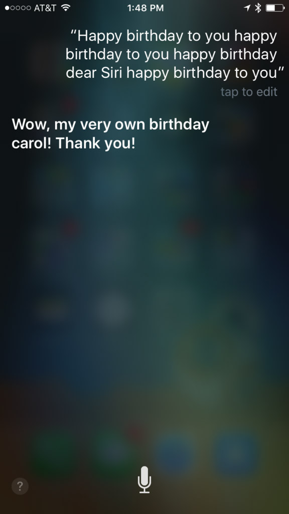 Siri Reacting to a Birthday Song  in iOS 10