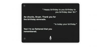 Siri's birthday in macOS Sierra