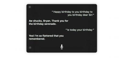 Siri's birthday in macOS Sierra