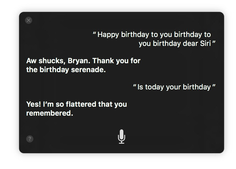 Singing to Siri in macOS Sierra