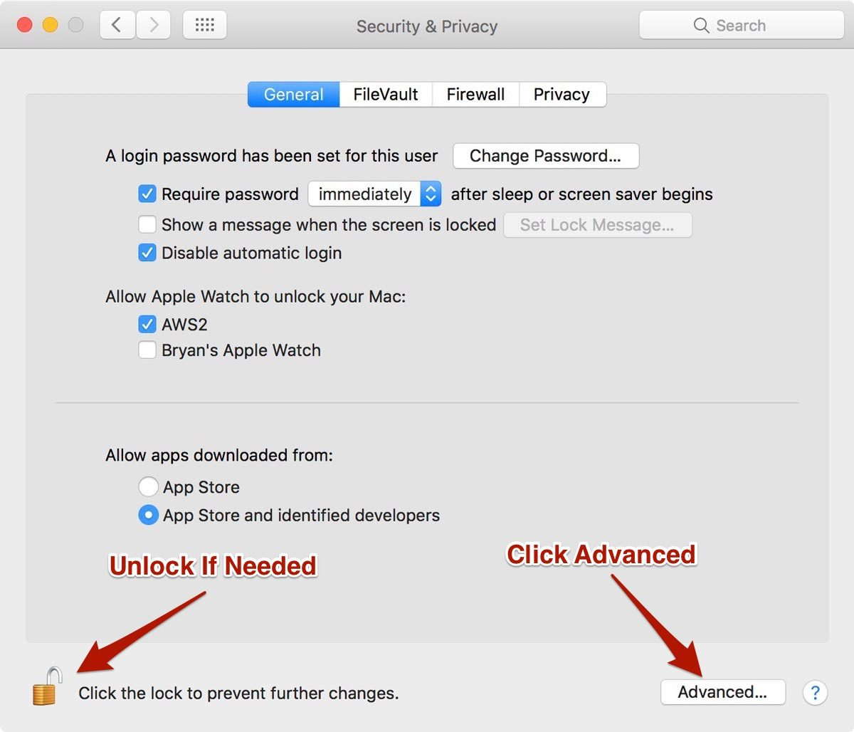 Security & Privacy Preferences in macOS Sierra