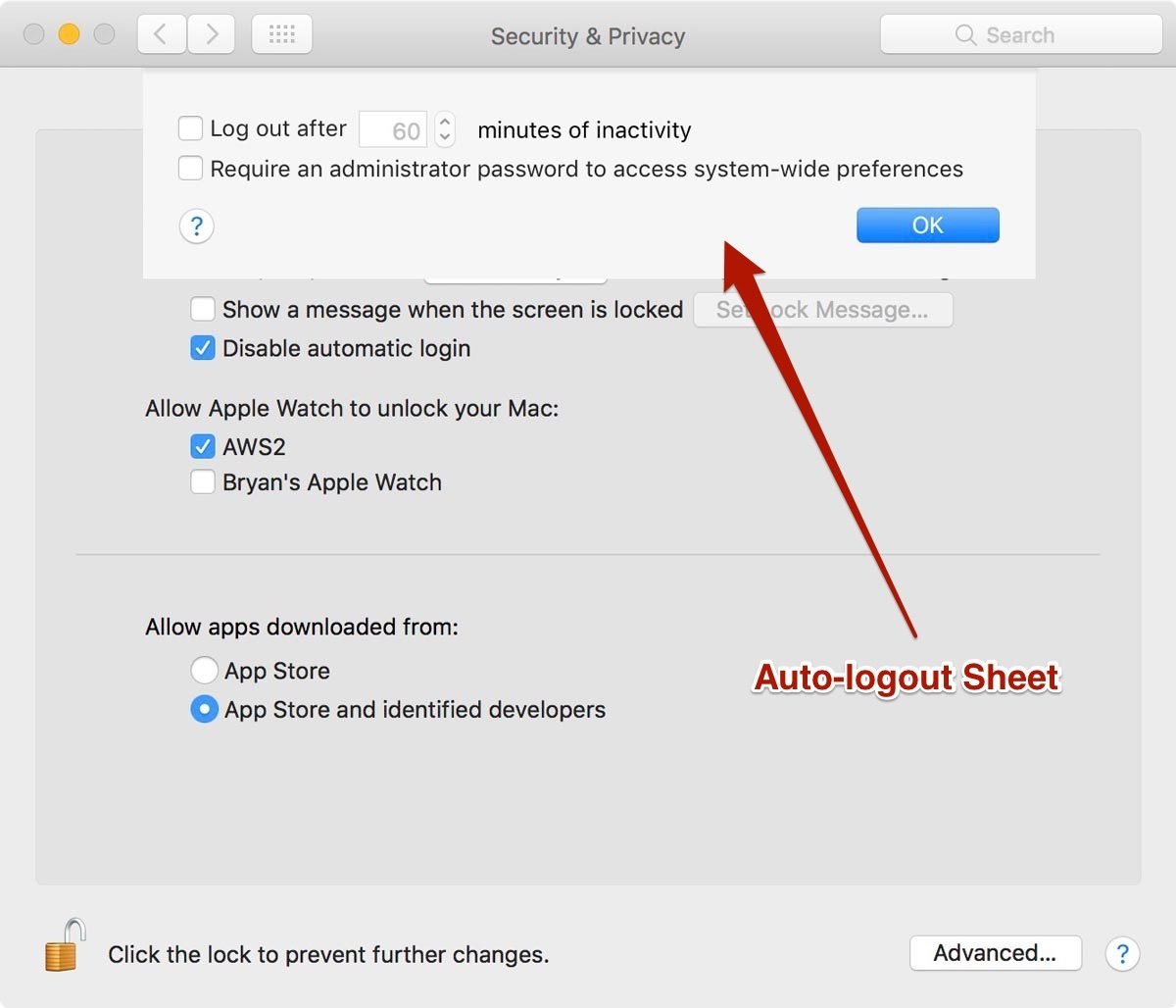 Screenshot showing Auto-Logout Preference in macOS Sierra