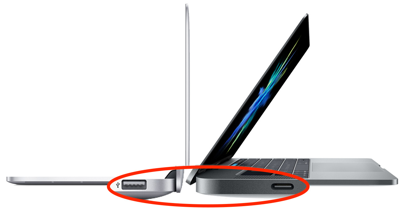 MacBook Pro USB A and USB-C port comparison