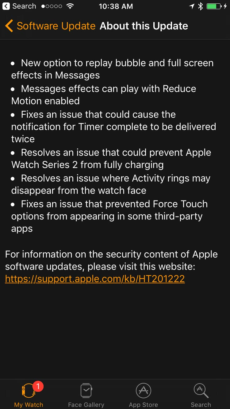 watchOS 3.1 Patch Notes