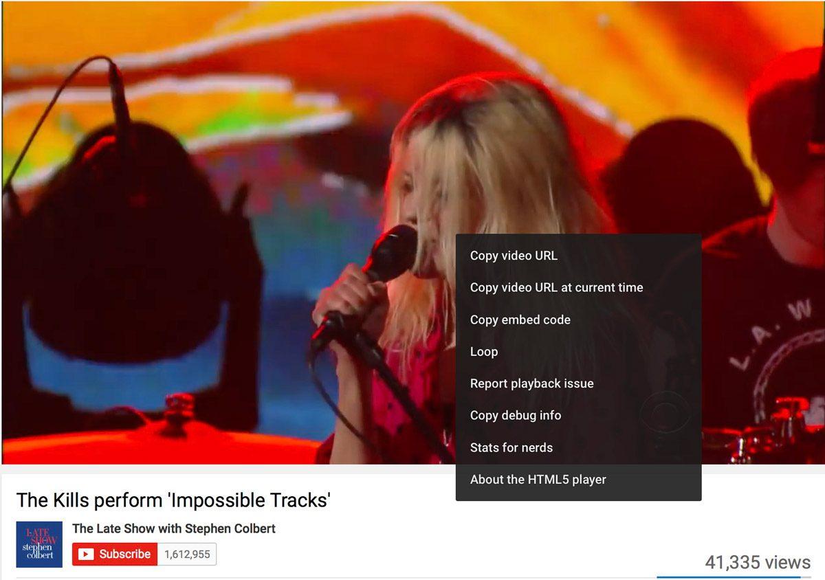 YouTube On-Screen Menu