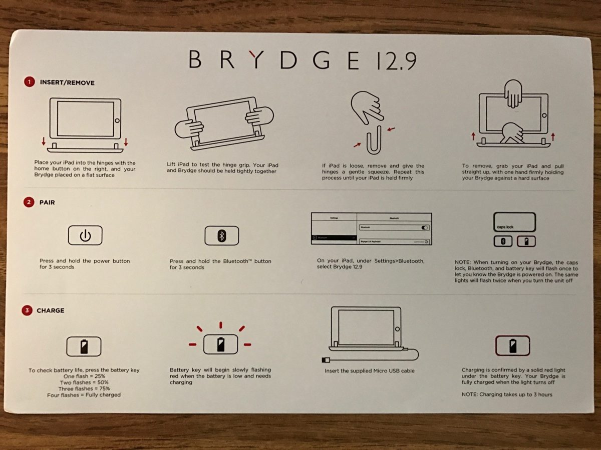 Brydge instructions.