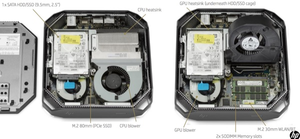 Inside of HP Z2 mini.