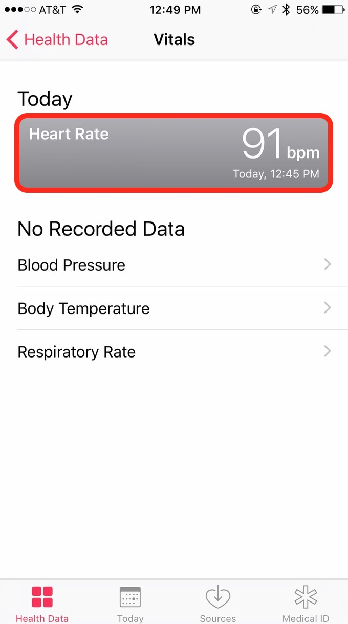 iOS 10 Health App Heart Rate