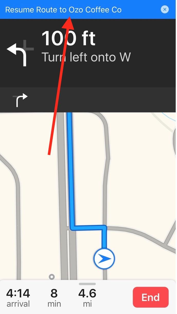 iOS 10 Maps Resume Route blue bar
