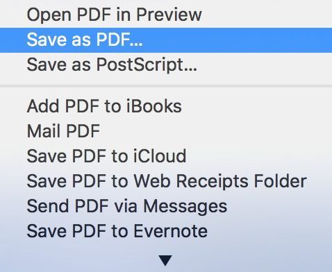 Save PDF option in the macOS Print dialog