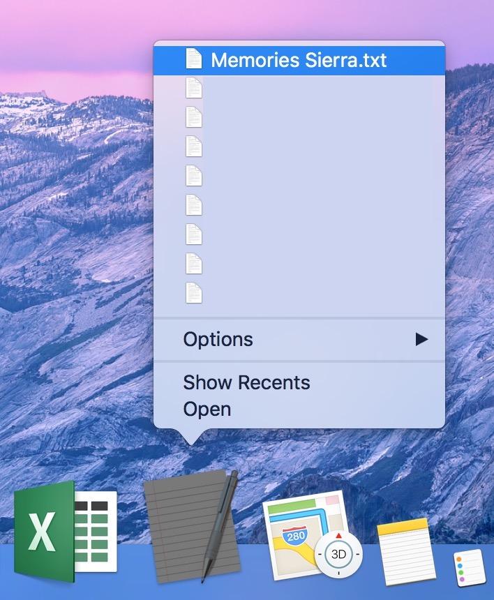 macOS Sierra Control-click Dock items to see contextual menu items