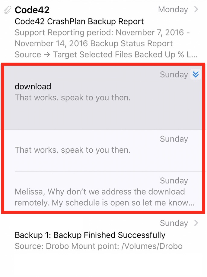 iOS 10 Mail message thread view