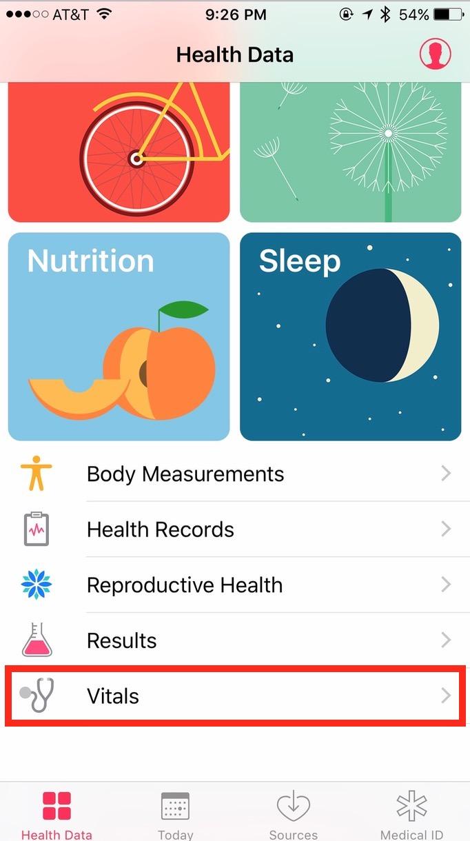 iOS 10 Health App Vitals