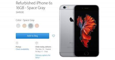 Screenshot of iPhone 6s Refurb Models on Apple Store Online