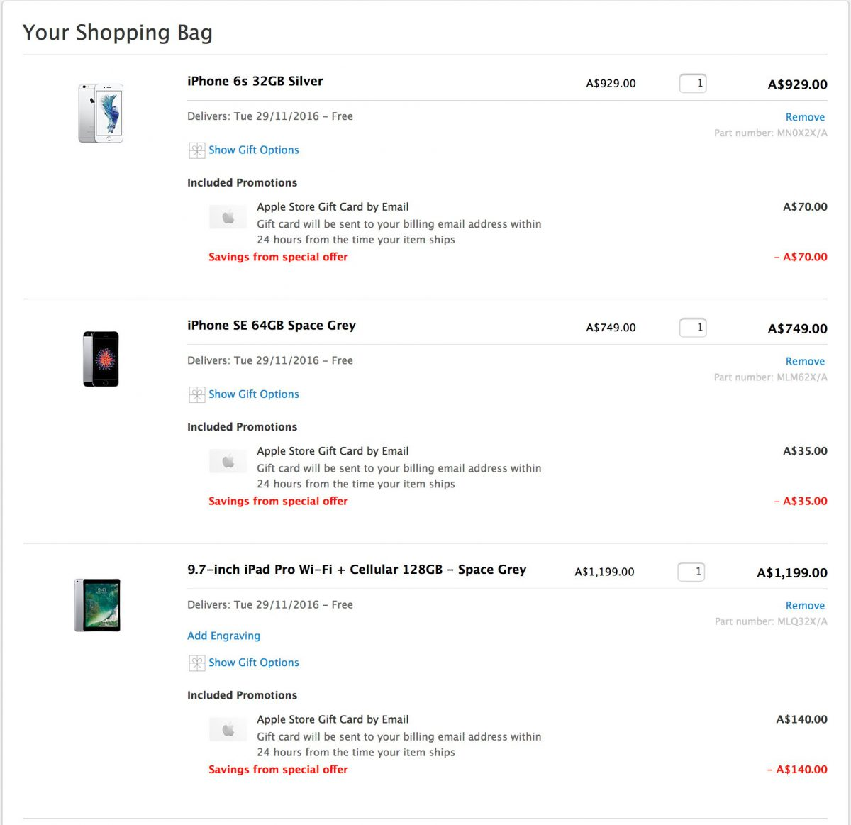 Sample Shopping Cart with Multiple Gift Cards