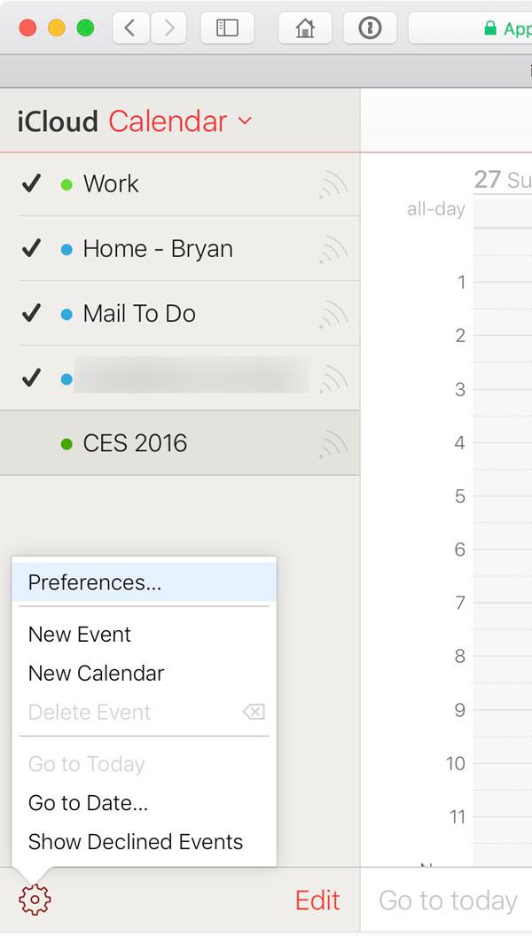 Settings Gear in iCloud.com's Calendar