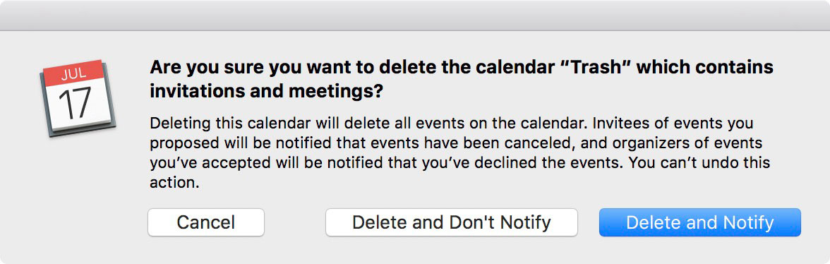 Popup Dialog for Deleting the Calendar