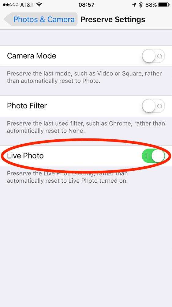 Live Photo settings in iOS 10.2 Photos & Camera settings