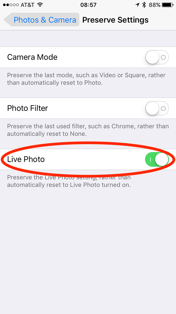 Live Photo settings in iOS 10.2 Photos & Camera settings