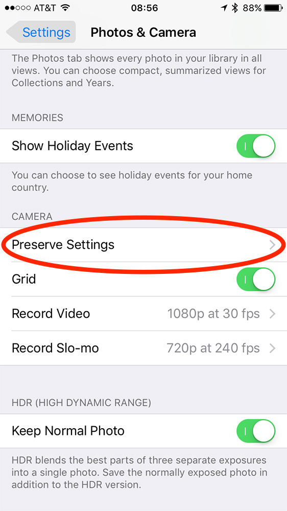 Preserve Settings option in Photos & Camera settings in iOS 10.2