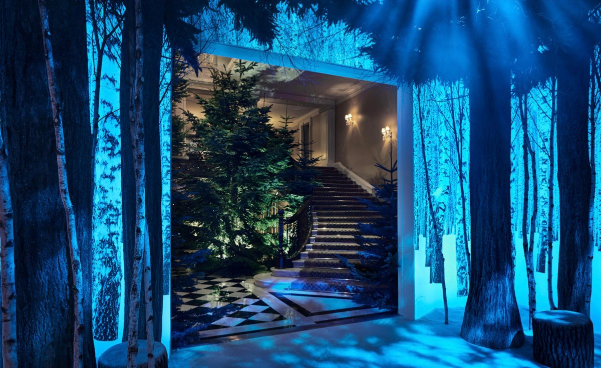 A photograph of Claridge's Christmas tree, designed by Jony Ive and Marc Newson