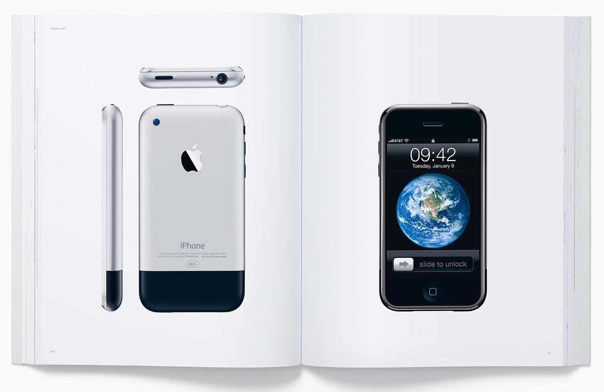 Page from Designed by Apple in California showing iPhone