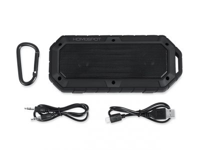 HomeSpot Rugged Waterproof Bluetooth Speaker, carabiner, and plugs