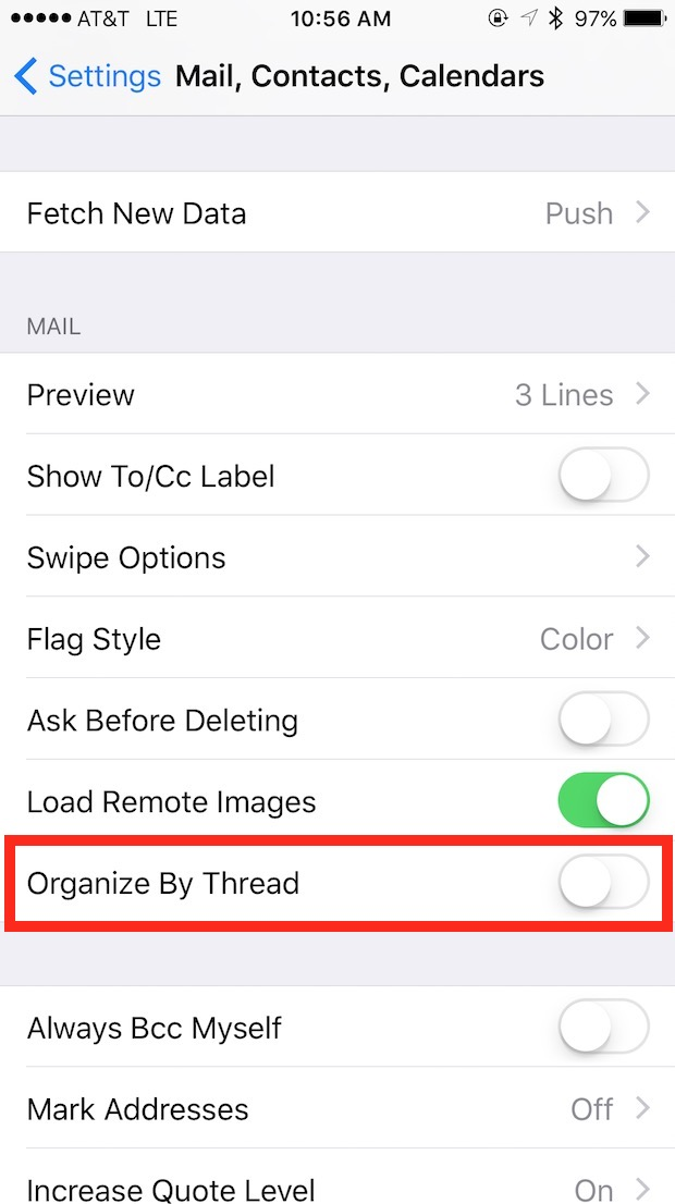 iOS 9 Mail Organize By Thread Settings