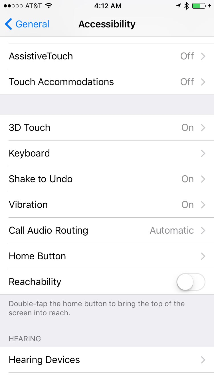 Accessibility Settings in iOS 10.1.1